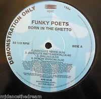 """FUNKY POETS ~ Born In The Ghetto ~ 12"""" Single PROMO"""