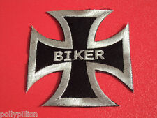 MOTORCYCLE MOTORBIKE BIKER SEW/IRON ON PATCH:- SILVER on BLACK BIKER IRON CROSS