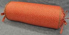 Bolster Pillow made w Ralph Lauren Villa Camelia Fretwork Orange Fabric cording