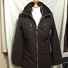 Womens small brown weatherproof coat with fur lining bnwt