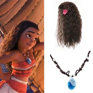 Moana Princess Wig Necklace Kids Girls Book Week Halloween Fancy Dress Accessory