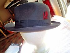 VINTAGE STETSON ROYAL FEDORA HAT DARK GRAY LONG OVAL 7