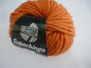 6,90 €/ 100g Lana Grossa Superbingo 50gr Classic From Merino Wool Fb.50 Orange