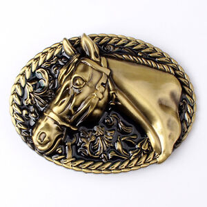 Vintage Bronze Horse Men's Belt Buckle Western Cowboy Native American (HRS-01)