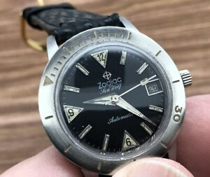 RARE ZODIAC SEAWOLF AUTOMATIC ORIGINAL BLACK DIAL /W DATE STAINLESS STEEL RUNS