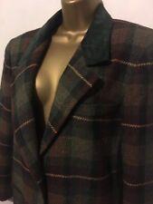 "Ladies Maurices Tartan Plaid Jacket Faux Velvet Collar, Size 40"""