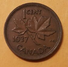 Canada 1937 1 Cent Copper  Canadian small penny.
