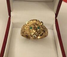 HM 9ct 9k Giallo Oro Uomo Gents Diamante Smeraldo LEONI Testa Anello Dimensione Z + 2