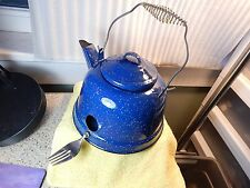 """Blue Speckled Steel Hand Crafted Tea-Pot Bird House w/Fork Perch & 1 1/4"""" Hole"""
