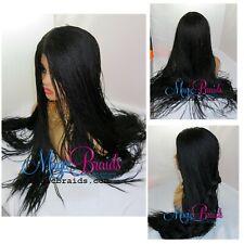 "2"" by 6"" closure lace wig- Senegalese -Braided Wig- medium twists- jet black"