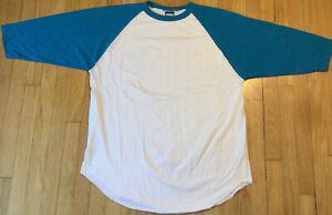 Vintage 90s Bike raglan t shirt XXL single stitch white baseball plain blank