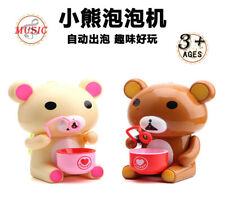Cute Bear Child Electric Automatic Bubble Machine Kid Toy Blower Colorful Light