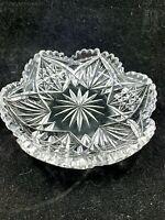 Antique American Brilliant ABP cut crystal small low bowl hobstar fan trefoil
