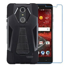 Black Case w/Stand Cover+Tempered Glass for ZTE Grand X 4 Z956 Blade Spark Z971