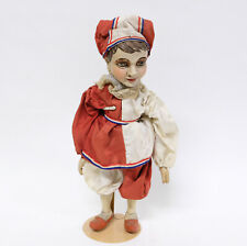 Antique 19th Century French carved wood polychrome puppet theater doll