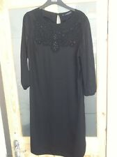 Bnwts Ladies Black Long Sleeved Dress Marks And Spencers Hand Embellished Sz 12