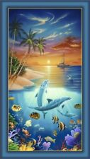 Dolphin Island PANEL Beach Tropical Fish Coral Sunset Fabric By the 2/3 YD Panel