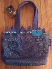 Laurel Burch Vintage Zip  Bag Colorful Cat Kitty Printed Shoulder Purse w tag