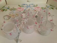 Set of 6 white glass hanging candle/tealight holders - wedding/christening