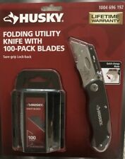 NIP~HUSKY~FOLDING UTILITY KNIFE~ WITH 100 PACK OF BLADES~FREE SHIPPING