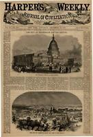 Washington D.C capitol dome city view 1860 Harper's Weekly print