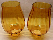 """2 Amber Swirled Design 5 1/4"""" Glass Shades - Lamps - Light Fixtures Chandelier"""