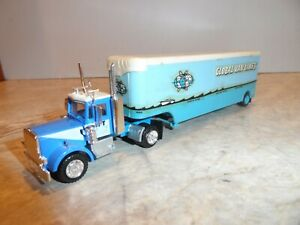 HO SCALE PETERBILT T&T S/A/ DAY CAB TRAILER TRUCK WITH GLOBAL VAN LINE TRAILER