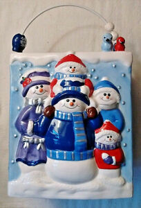 Snowman Family in Relief on Ceramic Pail