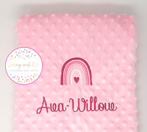 Personalised Baby Blanket, Pink Rainbow Girl Gift, Custom Embroidered, Any Name