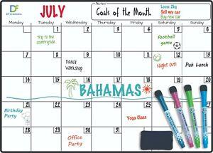 Magnetic MONTHLY Whiteboard Planner Fridge Calendar 4 Free Dry Erase Markers