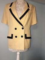 Oleg Cassini Shortsleeve Yellow   Blazer Trimmed with Black  Size 14 Exc