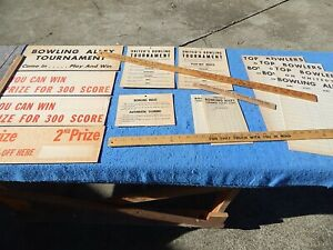 1950s United BOWLING TOURNAMENT signs and score pads