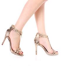 New Beige Gold ankle T strap snake High heel peep toe Open Sandal Shoes size 8.5