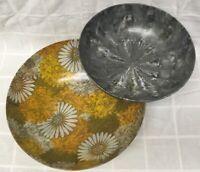 Set 2 Flower Power Tie Dye Large Melamine Plastic Large Serving Bowl Yellow Gray