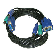 25Ft 3-in-1 KVM Switch Cable w/ 6pin PS2 Keyboard Mouse & HD15 VGA Male to Male