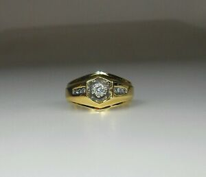 14K SOLID GOLD Mens Awesome .33ct TW 7 Genuine Natural Diamond Ring 10 MINT 7.6g