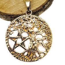 Vergoldet Baum des Lebens Pentagramm Hexen Anhänger auf Vergoldet Halskette