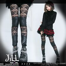 0ea01409987 goth visual victorian floral engraved lace trim leatherette tights J2I2003