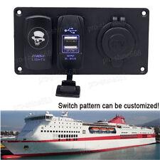 12V 24V  Dual USB Charger Rocker Switch Panel Cigarette Lighter Power Adapter #3