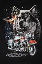 Fantasy T-SHIRT WOLF Motorrad Vorder/Rückseite, fluoreszierend - WLF 06 - NEU: L