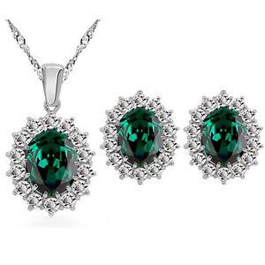 Luxury Queen Design May Birthstone Emerald Green Stud Earrings Pendant Necklace