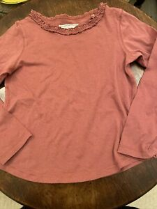 Bnwot NEXT Girls Rust Brown  Long Sleeve 100% Cotton Frill Neck 4-5 Yes