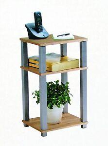 Regal Telefontisch Standregal Beistelltisch Sonoma Eiche-alufarbig 3 Böden NEU