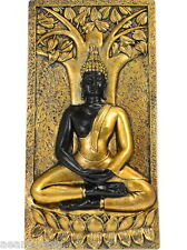 BUDDHA & BODHI TREE WALL PLAQUE GOLD & BLACK CAST RESIN Wicca Witch Pagan Yoga