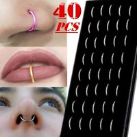 40Pcs Stainless Steel Nose Open Hoop Ring Ear Lip Studs Body Piercing Jewelry