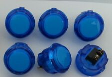 Japan Sanwa Clear Blue Push Buttons X 6 pcs OBSC-30-CB Video Game Arcade Parts