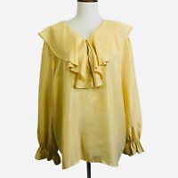 Ruffle Neck Silk Poet Blouse Large Womens Yellow Gold Long Sleeve V-Neck Shirt