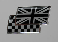 UNION JACK/CHEQUERED FLAGS Sticker/Decal - CHROME/BLACK HIGH GLOSS DOMED GEL