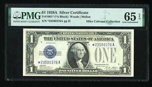 DBR 1928-A $1 Silver Funnyback Gem STAR Fr. 1601* PMG 65 EPQ Serial *23500376A