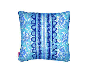 Lilly Pulitzer Turtley Pillow Decorative Indoor Outdoor Blue White Summer 18X18